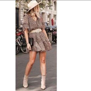 H&M Chiffon Brown & Cream FLORAL Mini Dress